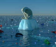 Sad polar bear on dwindling chunk of ice, with trash in the water
